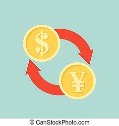 Exchange money sign icon