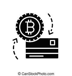 Exchange of bitcoin black icon concept. Exchange of bitcoin flat vector symbol, sign, illustration.