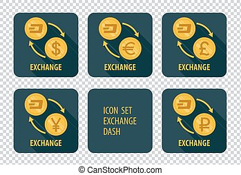 Exchange of cryptocurrency Dash vector icons on a dark background