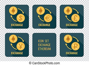 Exchange of cryptocurrency Ethereum vector icons on a dark background