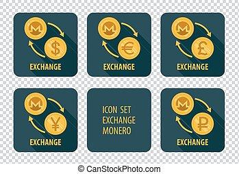 Exchange of cryptocurrency Monero vector icons on a dark background