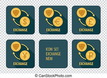Exchange of cryptocurrency NEM vector icons on a dark background
