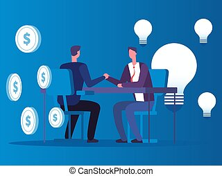 Exchange of ideas for money, businessman buys ideas vector concept