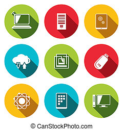 exchange of information technology flat icons set -...