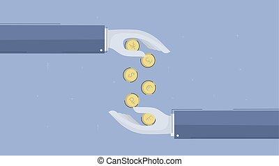 Exchange of money.