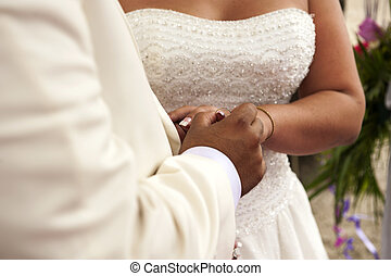 exchange of wedding rings at a wedding