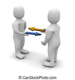 Exchange or trade conceptual illustration. 3d rendered image...
