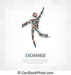exchange people sign 3d