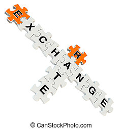 Exchange rate 3d puzzle on white background