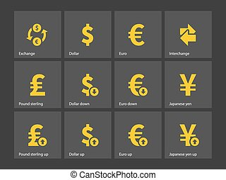 Exchange Rate icons. Vector illustration.
