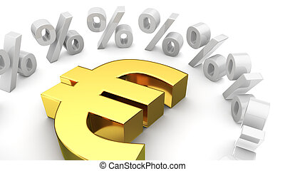 Exchange rate of euro - Golden euro symbol surrounded by...