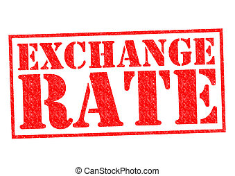 EXCHANGE RATE red Rubber Stamp over a white background.