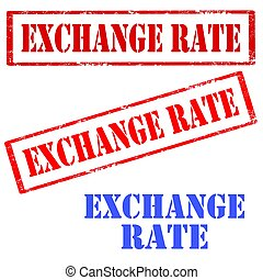 Exchange Rate-stamps - Set of stamps with text Exchange...