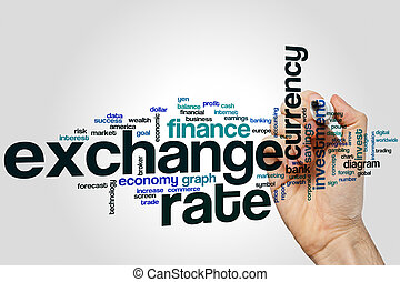 Exchange rate word cloud concept on grey background