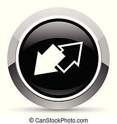 Exchange vector steel icon. Chrome border round web button....