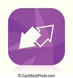 Exchange violet square vector web icon. Internet design and webdesign button in eps 10. Mobile application sign on white background.