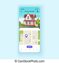 Exchanging houses for holidays smartphone interface vector template. Discovering new places. Mobile app page design layout. Apartment swapping screen. Flat UI for application. Phone display