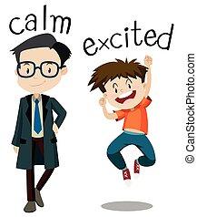 excité, calme, opposé, wordcard