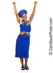 excité, femme, africaine, sud