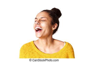 excité, femme, rire, jeune, africaine