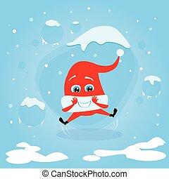 excité, haut, noël, saut, rire, santa chapeau, dessin animé, rouges, heureux