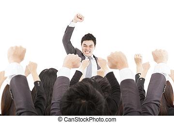 excité, homme affaires, à, reussite, equipe affaires