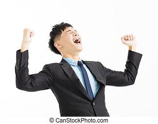 excité, homme affaires, célébration, reussite, à, main haut