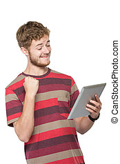 excité, jeune homme, utilisation, pc tablette