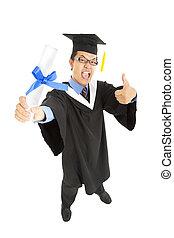 excité, pouces, recevoir diplôme, étudiant, haut