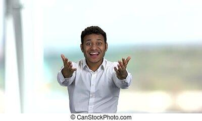 excité, succes., homme affaires, indien, célébrer