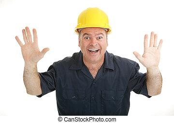 excitação, trabalhador construção