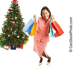 excitado, african - american, navidad, comprador