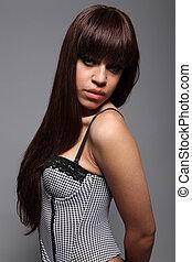 excitado, afro-caribbean, menina, com, cabelo marrom longo