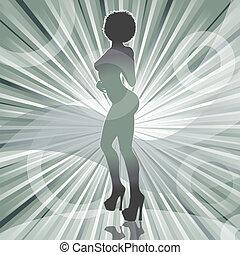 excitado, afro, mulher, silueta, com, raio