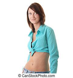 excitado, ajustar, mulher, em, calças brim, com, pelado, estômago