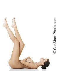 excitado, ajustar, mulher nua, com, saudável, limpo, pele
