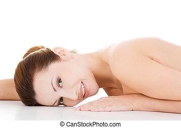 excitado, ajustar, pelada, deitando-se