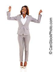 excitado, americano africano, mujer de negocios