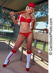 excitado, basebol, menina