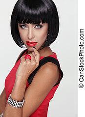 excitado, beleza, morena, woman., makeup., elegante, fringe., pretas, cabelo curto, style., jewelry., moda, foto