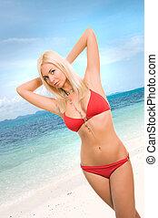 excitado, biquíni, mulher, praia, vermelho