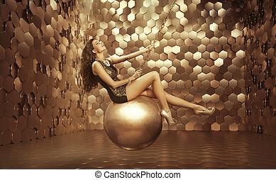 excitado, bola, grande, mulher