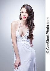 excitado, branca, mulher, vestido, retrato