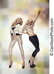 excitado, dançar, duas mulheres