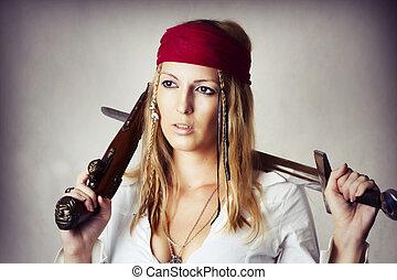excitado, estilo, mulher, loura, pirat
