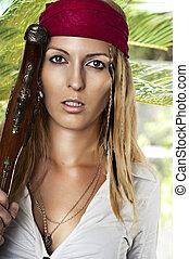 excitado, estilo, mulher, pirata