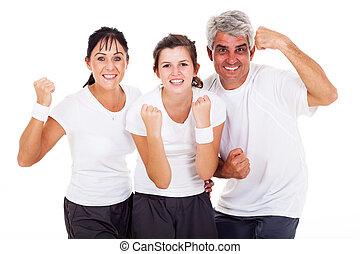 excitado, família, sporty