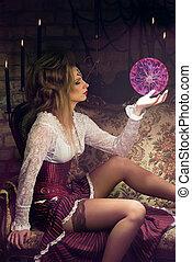excitado, feiticeira, com, magia, esfera