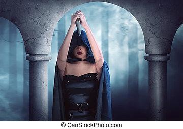 excitado, feiticeira, menina, com, faca afiada, pensando, aproximadamente, sacrifício