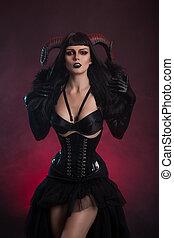 excitado, femininas, demônio, em, fetiche, traje